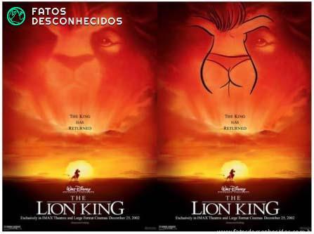 Bunda na capa do filme do rei leão é uma das mensagens subliminares da disney